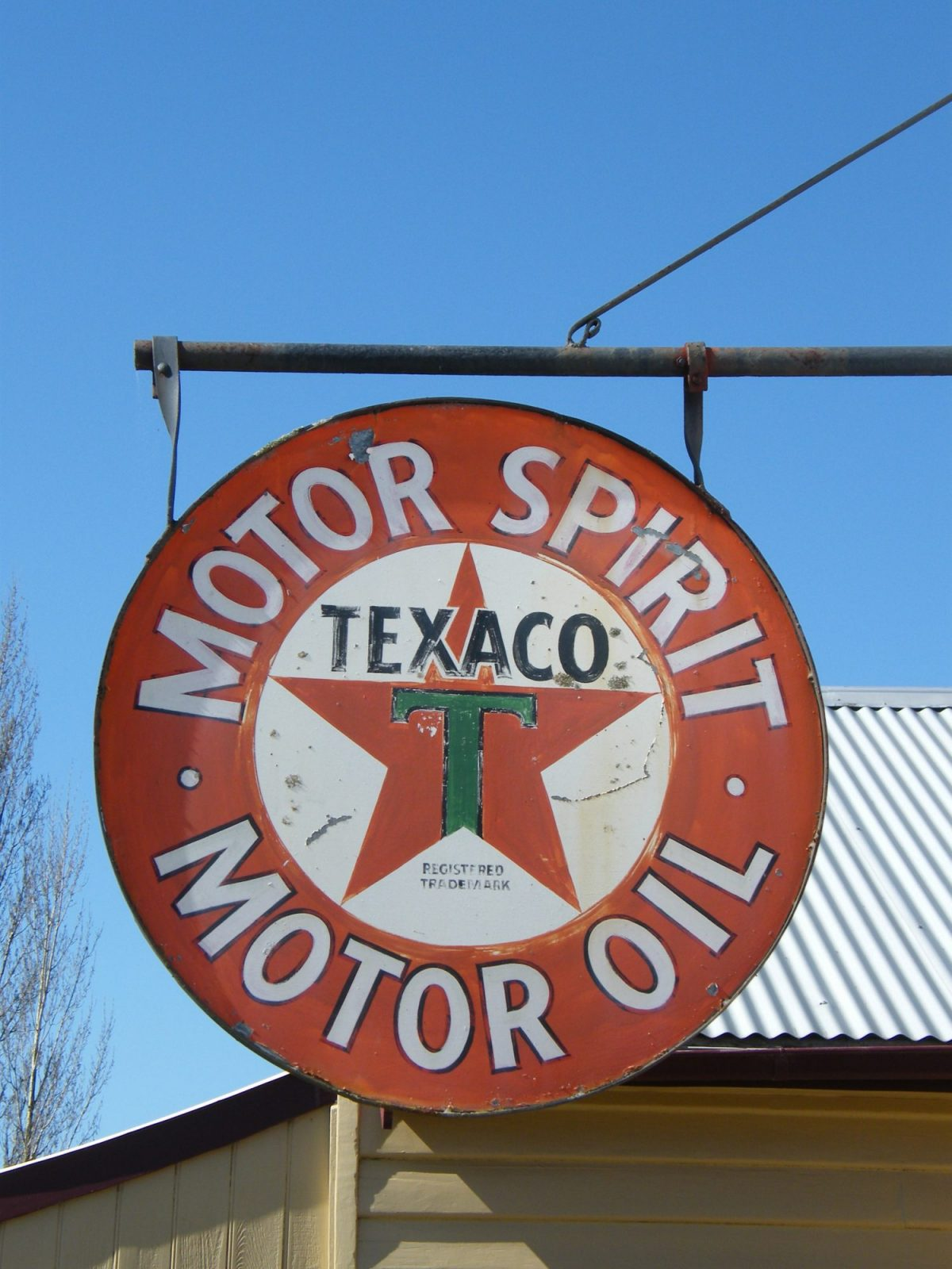 Texaco Motor Oil Sign found in back yard and donated as a gift to the park